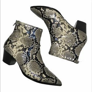 Aldo Snakeskin Studded Ankle Boots